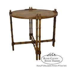 9267 ax baker milling road walnut round faux bamboo side table