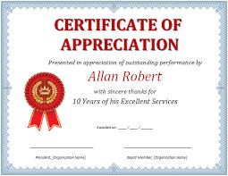 Certificates Of Appreciation Ms Word Certificate Of Appreciation Office Templates Online