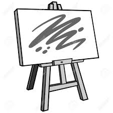 art materials with easel stand and a canvas with a paint sketch in an outline design