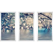 blue floral photography framed plexiglass wall art set  on framed blue wall art set with shop blue floral photography framed plexiglass wall art set of 3