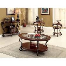 3 piece table set. Furniture Of America Cohler Elegant 3-piece Brown Cherry Accent Table Set 3 Piece