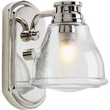 chrome varnished and clear seeded single light glass cover bathroom sconce antique style