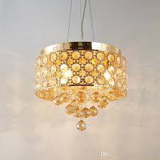 modern luxury gold round drum metal crystal pendant lights d38cm decorative hanging light fixture for dinning living room bedrooom decor drum pendant