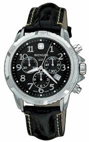 Wenger Watch Battery Chart Wenger Gst Chrono Swiss Watch Black Dial Black Leather