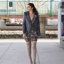 blogger sarah lindner of the house of sequins wearing top bird embellished minidress and blanknyc