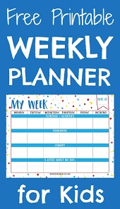 Planner Printables For Students Weekly Planner Printable For Kids