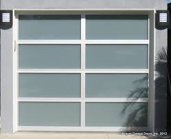 contempora ry full view glass garage door with clear anodized aluminum frames and white laminated glass 8 x7
