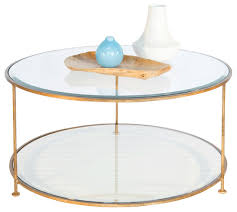 worlds away gold leaf iron round coffee table with beveled glass top rollo g transitional all
