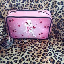 fluff cherry pin up cosmetic bag