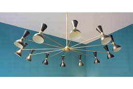 large italian 24 light brass chandelier with black shades photo 1