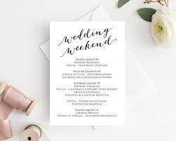 Wedding Itinerary Wedding Weekend Itinerary Card Wedding Templates And Printables 5