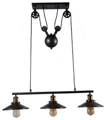 3 Light Adjustable Black Industrial <b>Pulley Pendant Lamp Light</b> ...