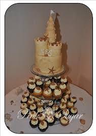 Pink Sugar Sandcastle Wedding Cake Cupcakes