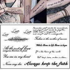 1 List Dočasné Anglické Slovo Tetování Samolepky černá Písmena Peří