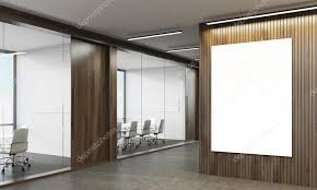 office conference room. Office With Wooden Walls, Conference Rooms Glass Walls And Poster. 3d Rendering. Room I