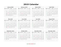 Download Blank Calendar 2019 12 Months On One Page Horizontal