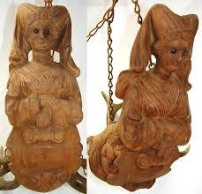 rare antique black forest carved wood antlers light fixture chandelier candelabra for ceiling