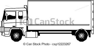 truck drawing outline. Simple Outline Vector Heavy Truck With Drawing Outline