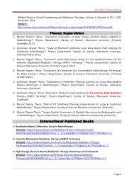 Medical Physicist CV Work Experience. CV .