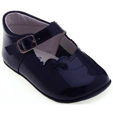 baby girls navy pram shoes in patent leather double tap to zoom