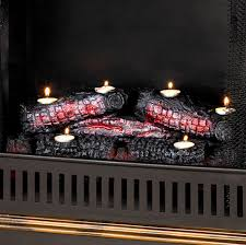 fire log candle holder fireplace