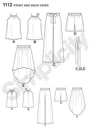 High Low Skirt Pattern Extraordinary Simplicity 48 Misses' Top Pants Or Shorts And Skirt