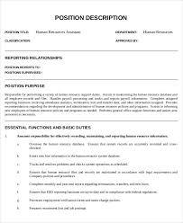 Hr Assistant Duties Hr Assistant Job Description 10 Free Word Pdf Documents Download
