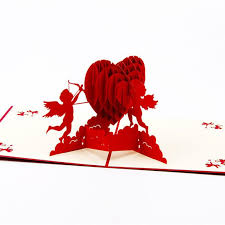 Hot Sale 3d Cupids Hearts Valentines Day Handmade 3d Greeting Cards