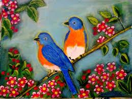 love birds an acrylic painting