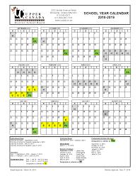 Year To Year Calendar 2018 2019 School Year Calendar Upper Canada District School Board