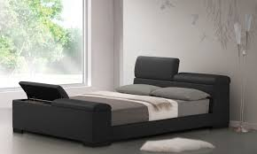 Bedroom Black Leather Platform With Storage And Grey Sheet Also