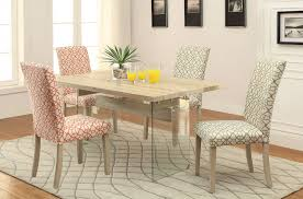 Clear Dining Room Table Acme 71905 Glassden 5pcs Light Oak Glass Dining Set Fabric Chairs
