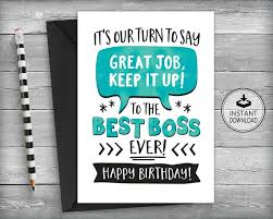 Birthday Cards Free Download Printable Beauteous Boss Birthday Card Card For Boss Boss Appreciation Card Etsy