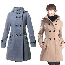 womens pea coat with hood double ted wool coat long winter women trench coats hooded pea womens pea coat
