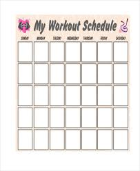 Work Out Schedule Templates Oyle Kalakaari Co