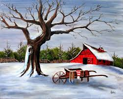 red barn wheelbarrow in winter