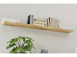 modern hanging white and oak wall shelf