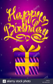 Happy Birthday Poster Gold Ribbon Lettering And Gift Box On Purple