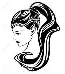 エルフ少女黒と白のベクトル イラスト 美しい女性の横顔の肖像画