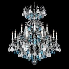 renaissance 16 light crystal chandelier in antique pewter with clear rock crystal color