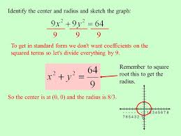 identify the center and radius and sketch the graph to get in standard form we