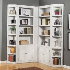 ... Cool white corner bookcase with storage cabinets Old ...