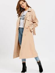 las skirted double ted soft trench coat khaki l
