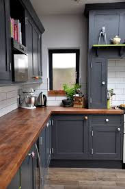 gray kitchen cabinets butcher block countertops cost wood