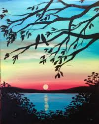 paint and sip paintings love birds and sunset paint fun studio