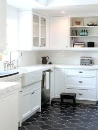 picture of black style tiles for a mid century kitchen floor ideas with white cabinets grey