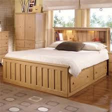 Bookcase Bedroom Furniture Shaker Oak Bookcase Captains Bed With Under Bed Drawer Storage