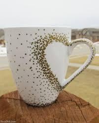 golden pen painted mug