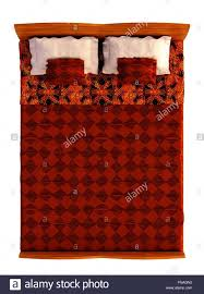double bed top view. Bed Top View Isolated On White - Stock Image Double