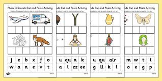 Free cut and paste worksheets for preschool , kindergarten and fist grade. Phase 3 Sounds Cut And Paste Activity Teacher Made